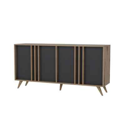 Buffet 4 portes marron noir